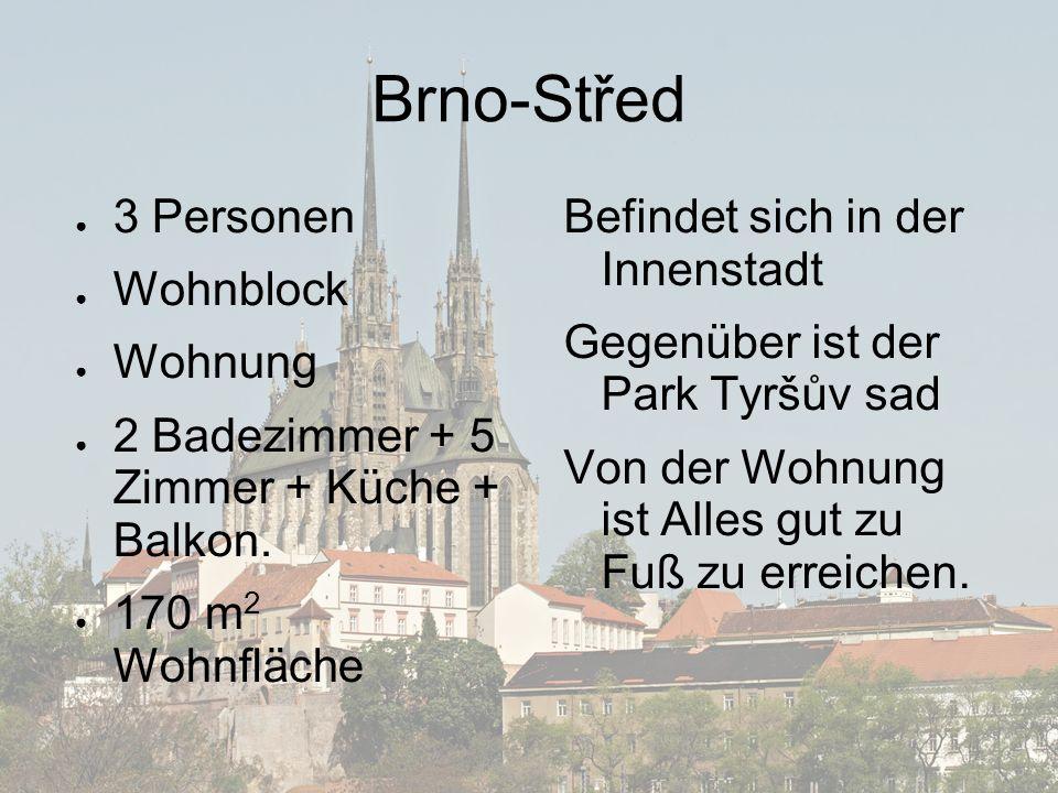 Brno-Střed ● 3 Personen ● Wohnblock ● Wohnung ● 2 Badezimmer + 5 Zimmer + Küche + Balkon.