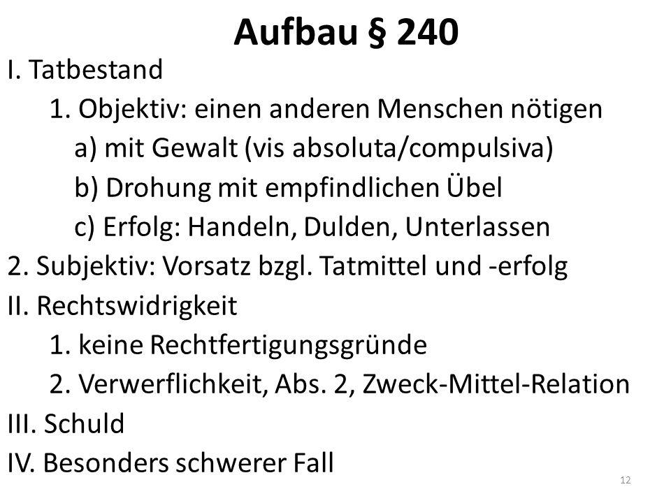 Aufbau § 240 I. Tatbestand 1.