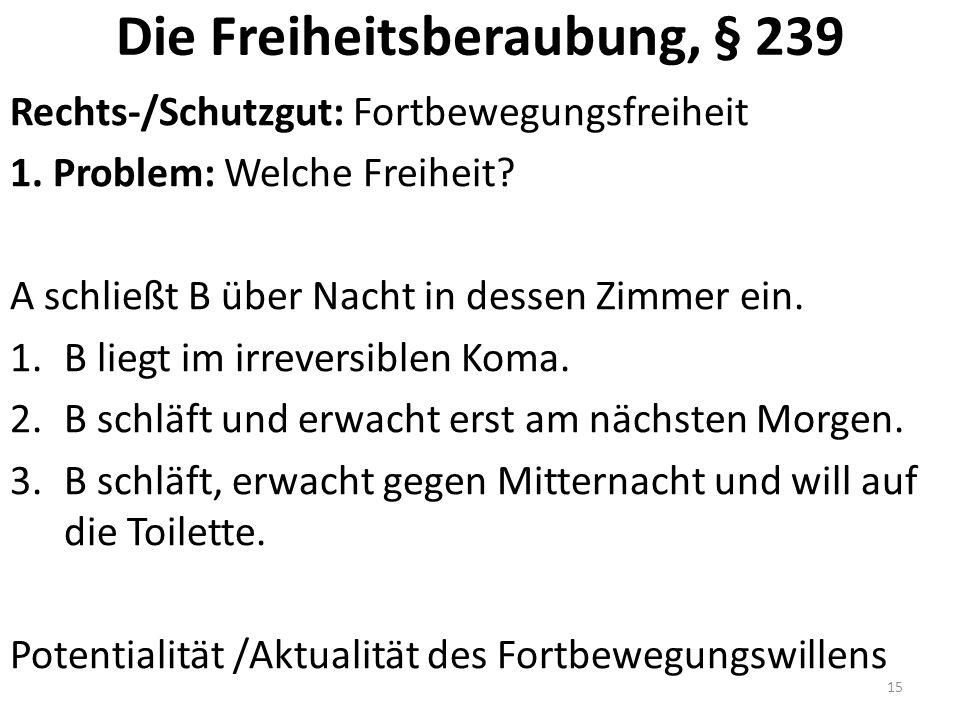 Die Freiheitsberaubung, § 239 Rechts-/Schutzgut: Fortbewegungsfreiheit 1.
