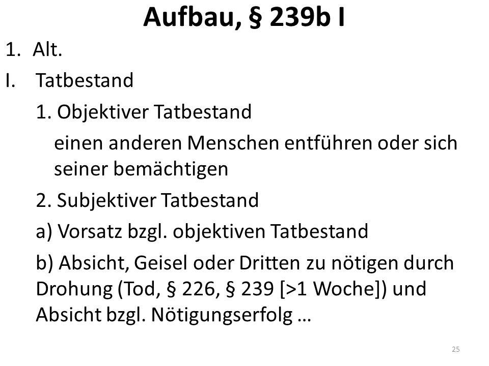 Aufbau, § 239b I 1.Alt. I.Tatbestand 1.