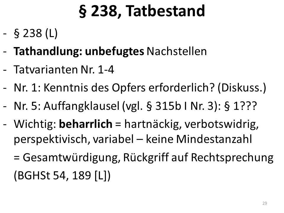 § 238, Tatbestand -§ 238 (L) -Tathandlung: unbefugtes Nachstellen -Tatvarianten Nr.