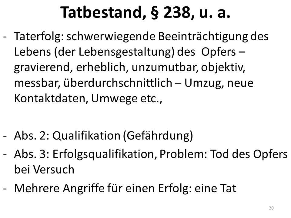 Tatbestand, § 238, u. a.