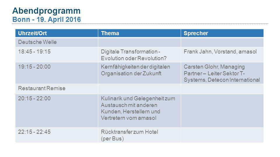 Abendprogramm Bonn - 19.
