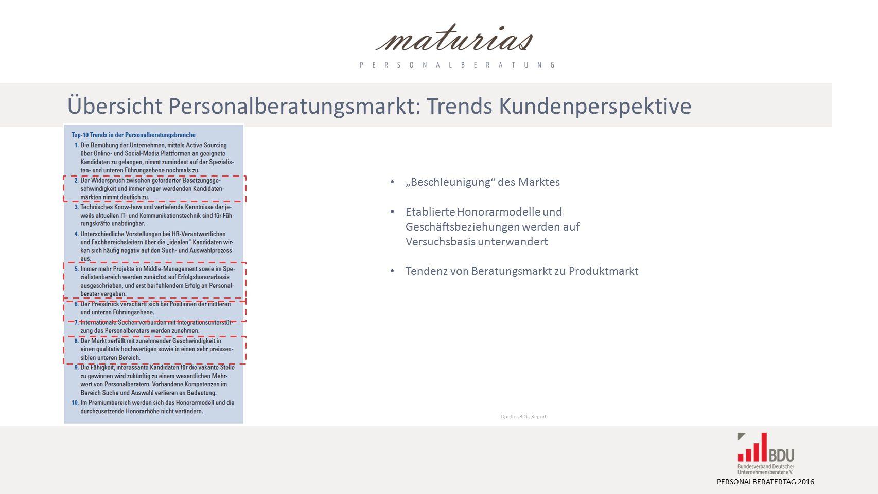 """PERSONALBERATERTAG 2016 Quelle: BDU-Report """"Beschleunigung des Marktes Etablierte Honorarmodelle und Geschäftsbeziehungen werden auf Versuchsbasis unterwandert Tendenz von Beratungsmarkt zu Produktmarkt Übersicht Personalberatungsmarkt: Trends Kundenperspektive"""
