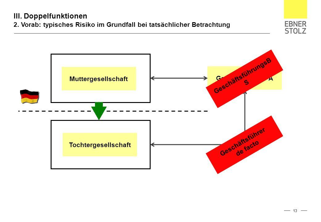 III. Doppelfunktionen 2. Vorab: typisches Risiko im Grundfall bei tatsächlicher Betrachtung 13 Muttergesellschaft Tochtergesellschaft Geschäftsführer