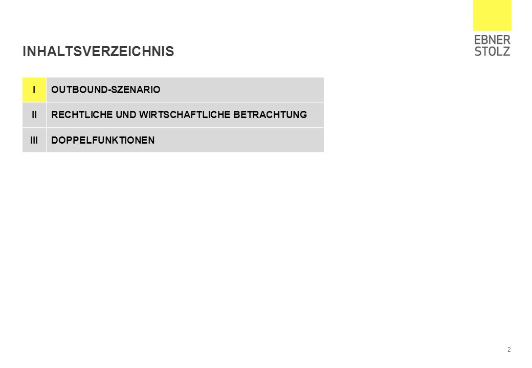 2 INHALTSVERZEICHNIS IOUTBOUND-SZENARIO IIRECHTLICHE UND WIRTSCHAFTLICHE BETRACHTUNG IIIDOPPELFUNKTIONEN