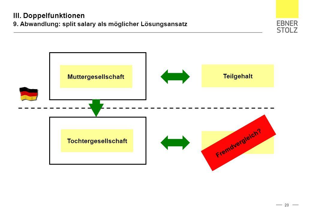 III. Doppelfunktionen 9. Abwandlung: split salary als möglicher Lösungsansatz 20 Muttergesellschaft Tochtergesellschaft Teilgehalt