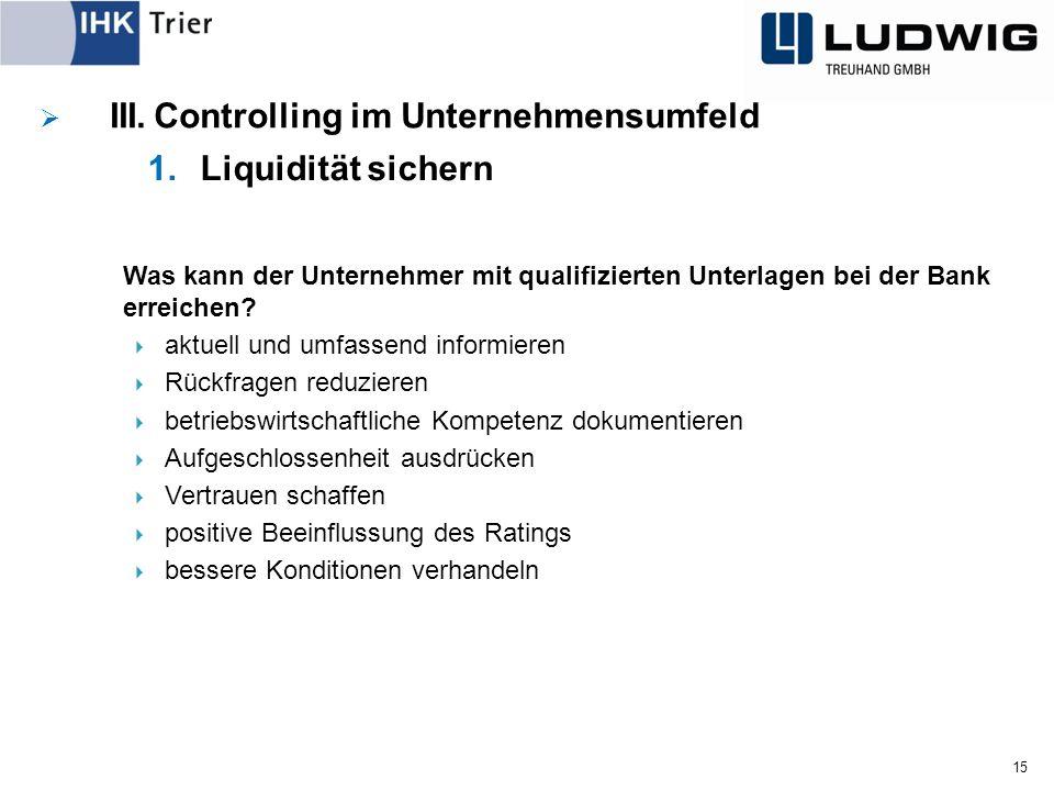 15  III.Controlling im Unternehmensumfeld 1.Liquidität sichern Was kann der Unternehmer mit qualifizierten Unterlagen bei der Bank erreichen.