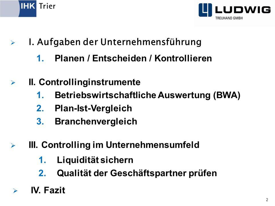  I. Aufgaben der Unternehmensführung 2  II. Controllinginstrumente  III.