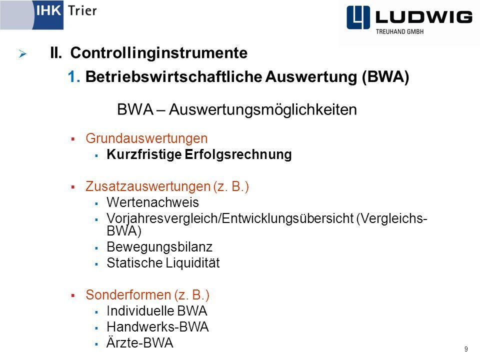 9 BWA – Auswertungsmöglichkeiten  Grundauswertungen  Kurzfristige Erfolgsrechnung  Zusatzauswertungen (z.