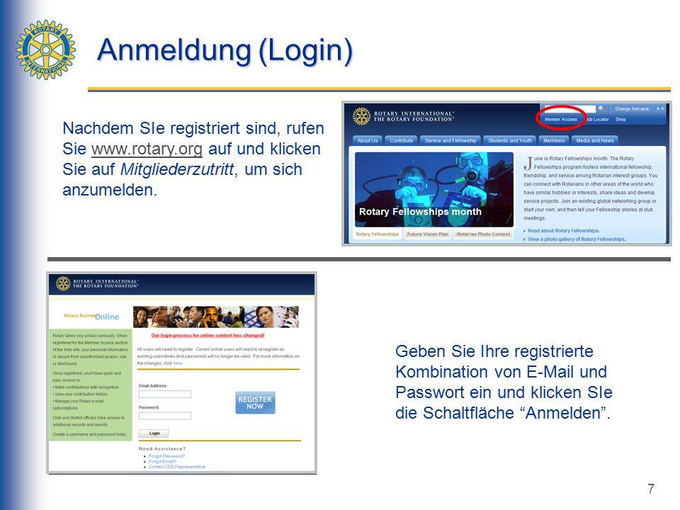 7 Anmeldung (Login) Geben Sie Ihre registrierte Kombination von E-Mail und Passwort ein und klicken SIe die Schaltfläche Anmelden .