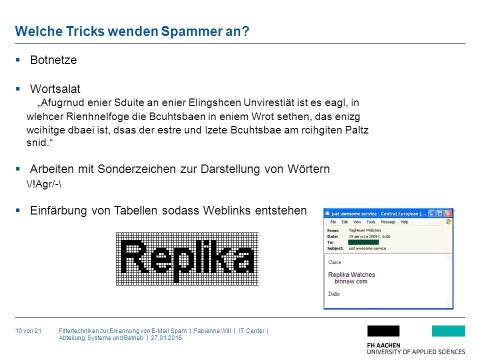 Filtertechniken zur Erkennung von E-Mail Spam | Fabienne Will | IT Center | Abteilung: Systeme und Betrieb | 27.01.2015 Welche Tricks wenden Spammer an.