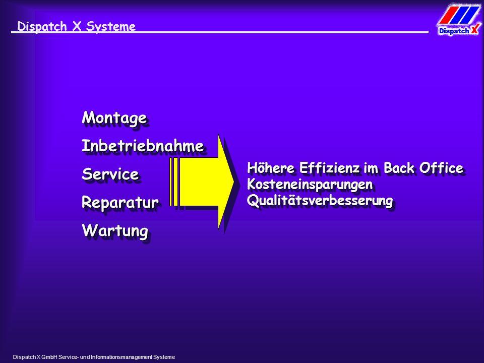 Dispatch X GmbH Service- und Informationsmanagement Systeme Dispatch X Systeme MontageMontage InbetriebnahmeInbetriebnahme WartungWartung ServiceService ReparaturReparatur Höhere Effizienz im Back Office Kosteneinsparungen Qualitätsverbesserung Höhere Effizienz im Back Office Kosteneinsparungen Qualitätsverbesserung