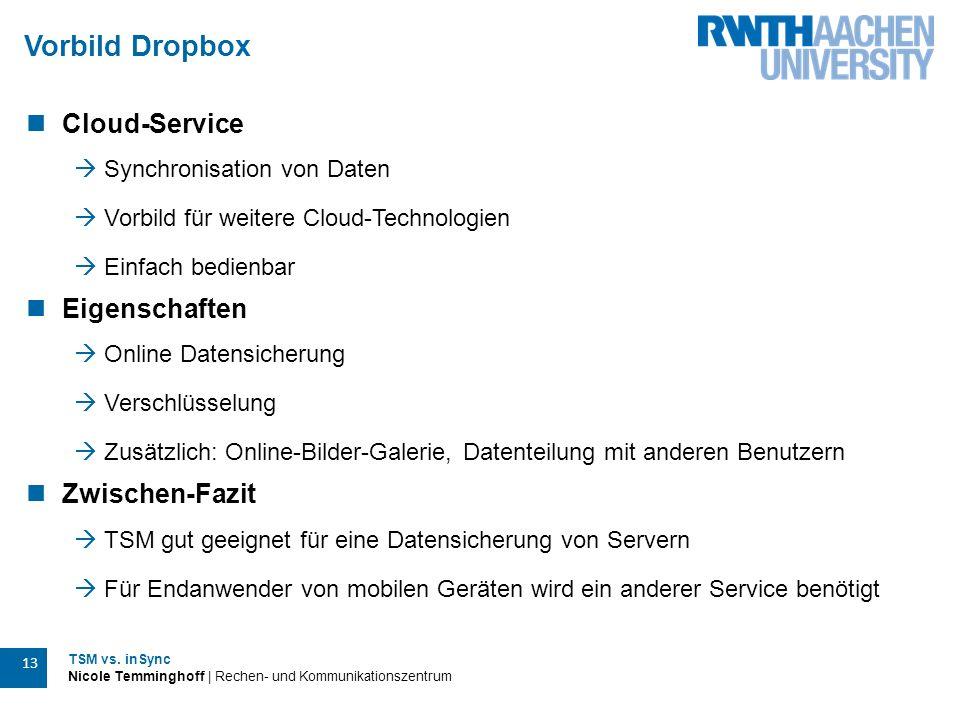 TSM vs. inSync Nicole Temminghoff | Rechen- und Kommunikationszentrum 13 Vorbild Dropbox Cloud-Service  Synchronisation von Daten  Vorbild für weite