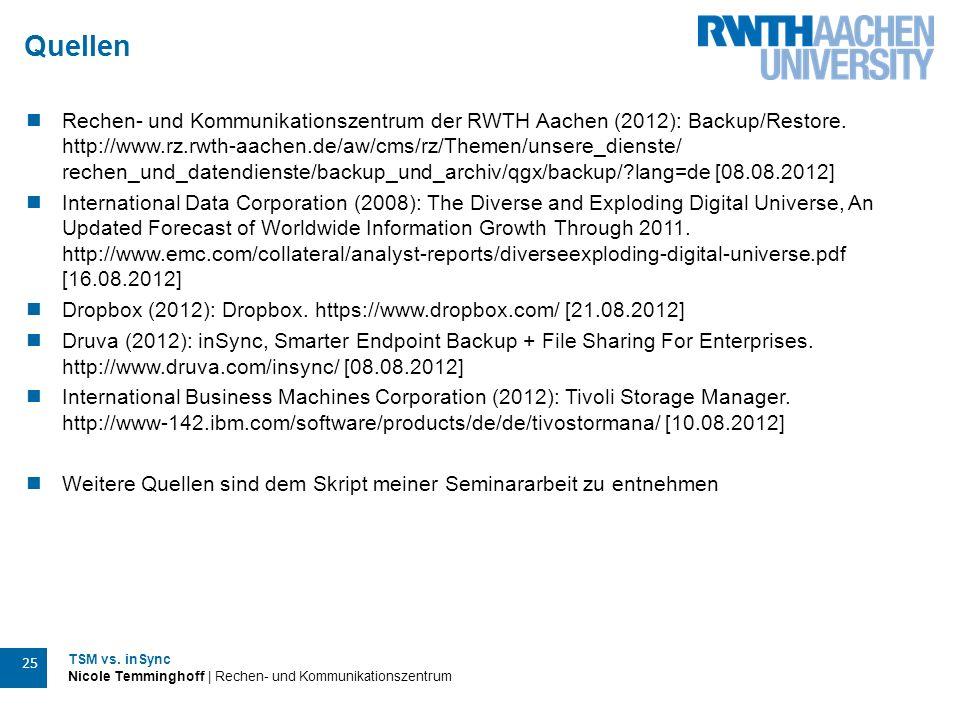 TSM vs. inSync Nicole Temminghoff | Rechen- und Kommunikationszentrum 25 Quellen Rechen- und Kommunikationszentrum der RWTH Aachen (2012): Backup/Rest