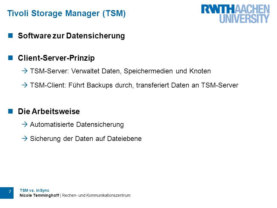 TSM vs. inSync Nicole Temminghoff | Rechen- und Kommunikationszentrum 7 Tivoli Storage Manager (TSM) Software zur Datensicherung Client-Server-Prinzip