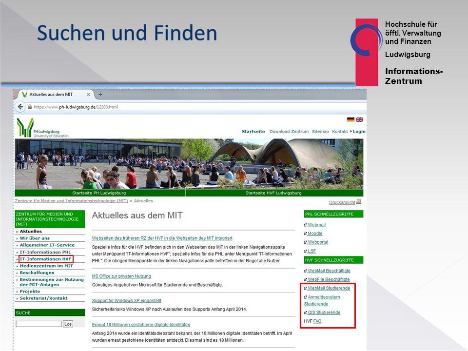 Hochschule für öfftl. Verwaltung und Finanzen Ludwigsburg Informations- Zentrum 12