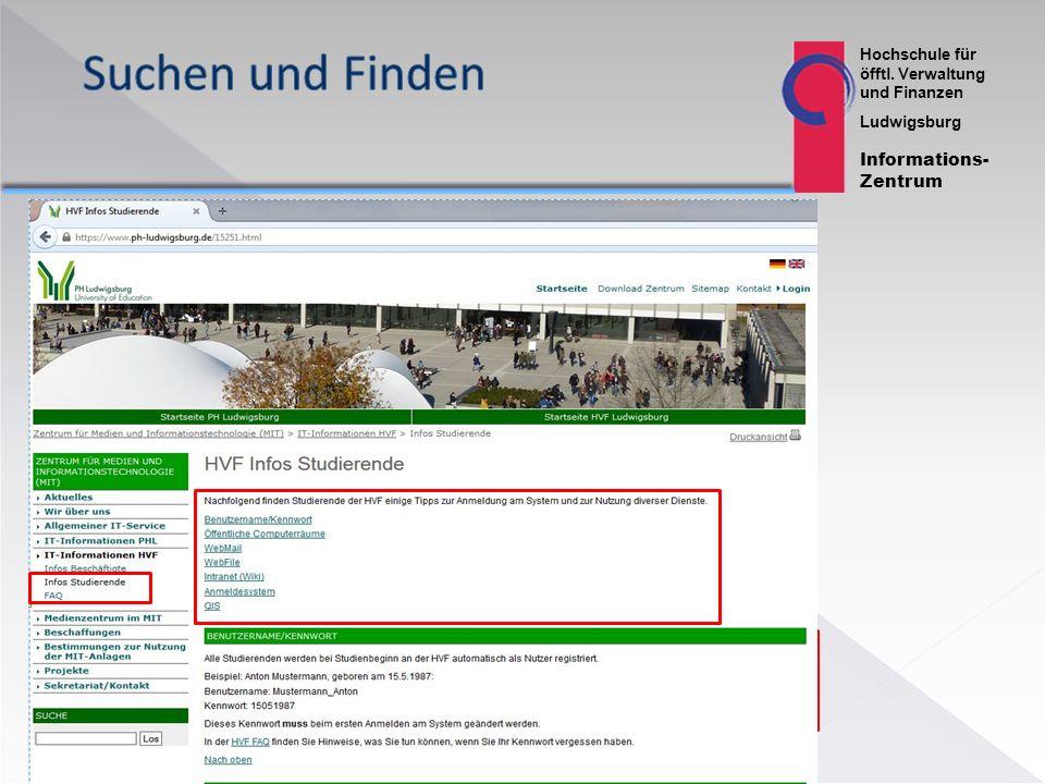 Hochschule für öfftl. Verwaltung und Finanzen Ludwigsburg Informations- Zentrum 13