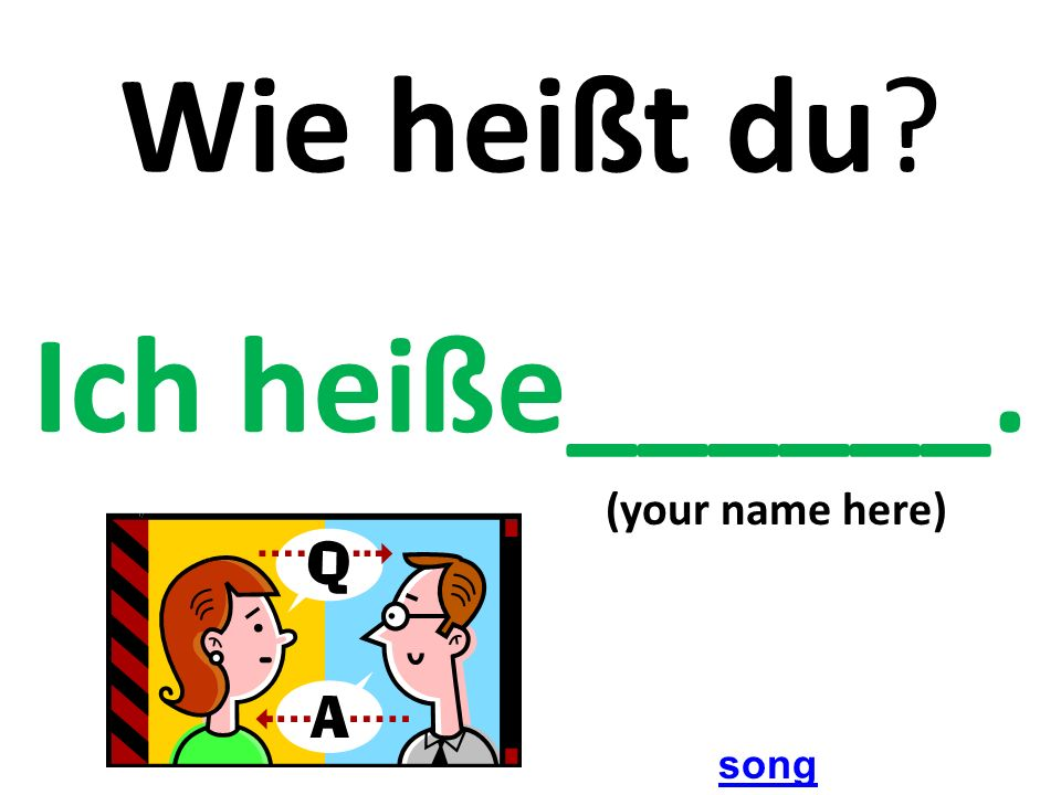 Wie heißt du? Ich heiße______. (your name here) song