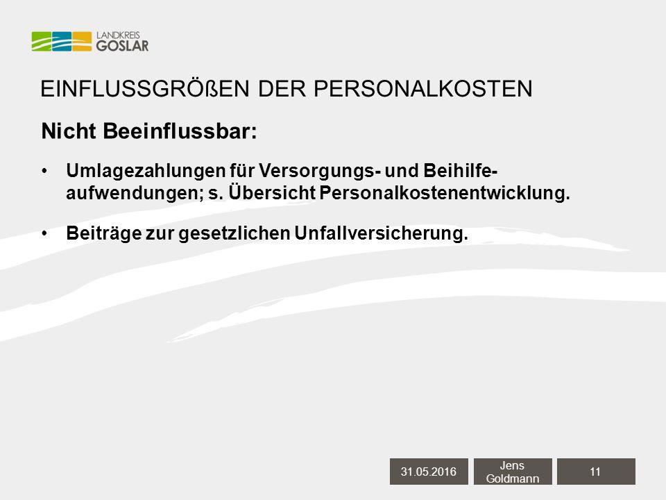 Nicht Beeinflussbar: Umlagezahlungen für Versorgungs- und Beihilfe- aufwendungen; s.