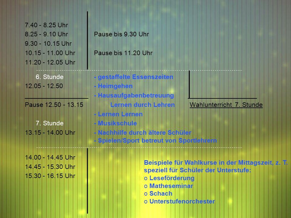 7.40 - 8.25 Uhr 8.25 - 9.10 UhrPause bis 9.30 Uhr 9.30 - 10.15 Uhr 10.15 - 11.00 UhrPause bis 11.20 Uhr 11.20 - 12.05 Uhr 6.