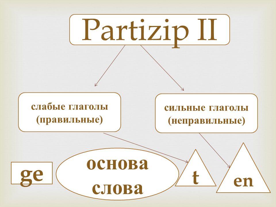 Partizip II слабые глаголы (правильные) сильные глаголы (неправильные) ge основа слова t en