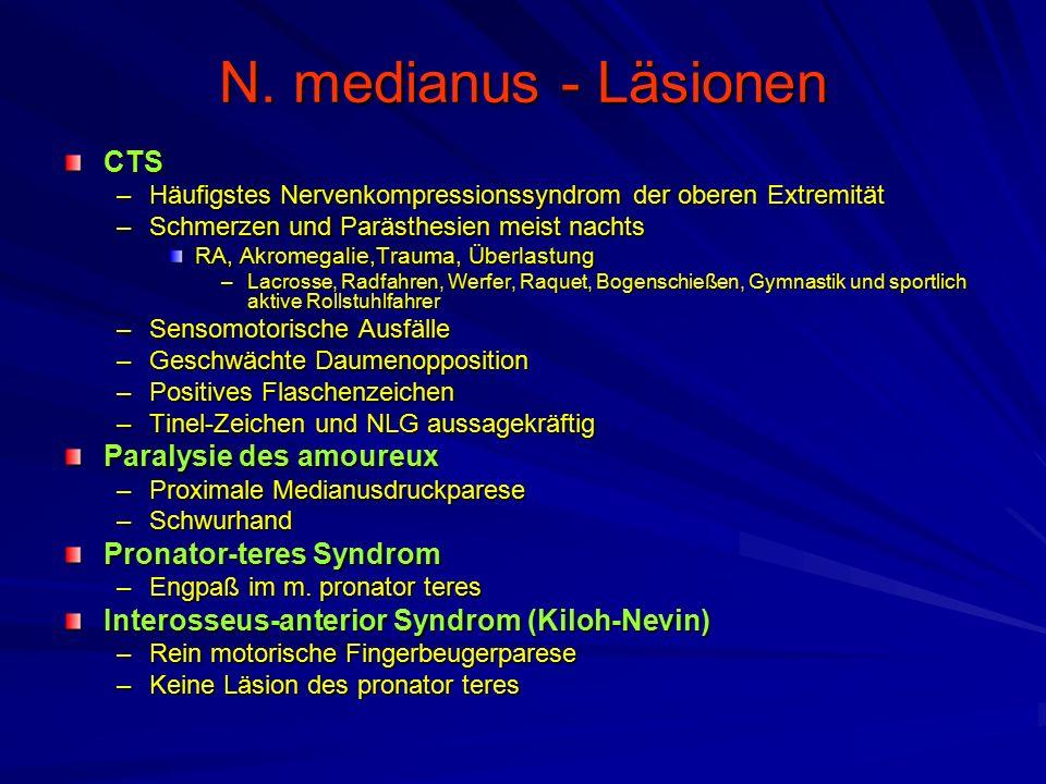 N. medianus - Läsionen CTS –Häufigstes Nervenkompressionssyndrom der oberen Extremität –Schmerzen und Parästhesien meist nachts RA, Akromegalie,Trauma