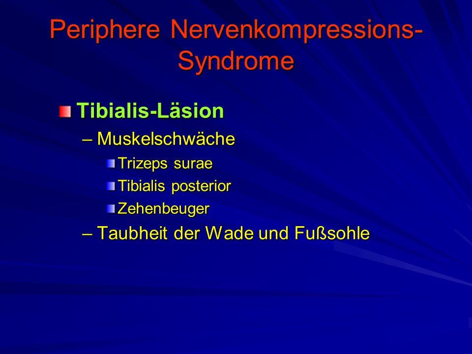 Periphere Nervenkompressions- Syndrome Tibialis-Läsion –Muskelschwäche Trizeps surae Tibialis posterior Zehenbeuger –Taubheit der Wade und Fußsohle