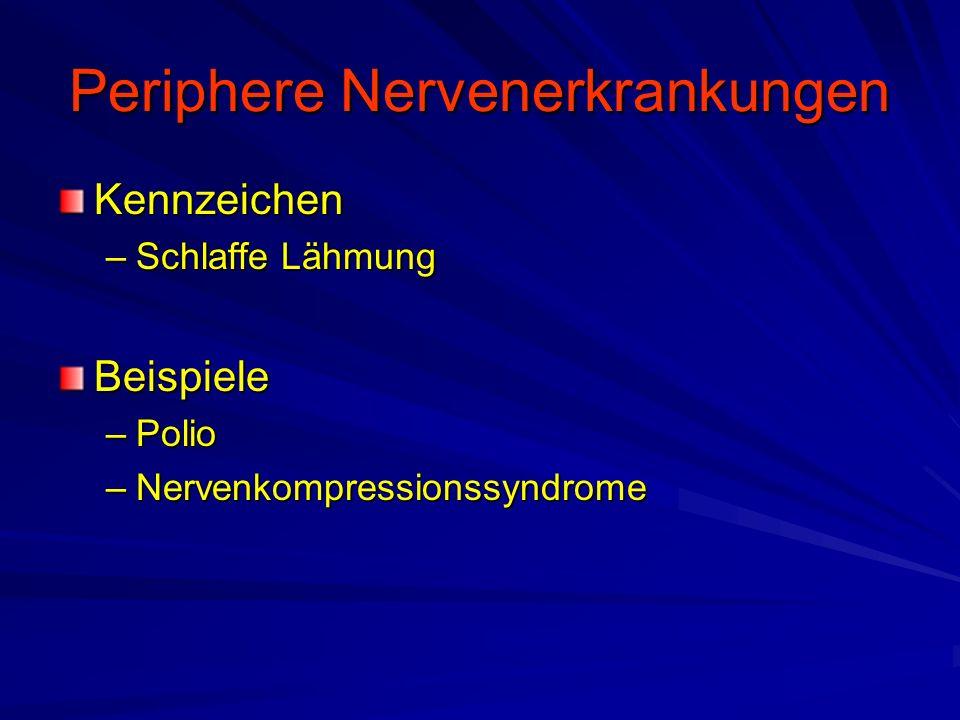 Periphere Nervenerkrankungen Kennzeichen –Schlaffe Lähmung Beispiele –Polio –Nervenkompressionssyndrome