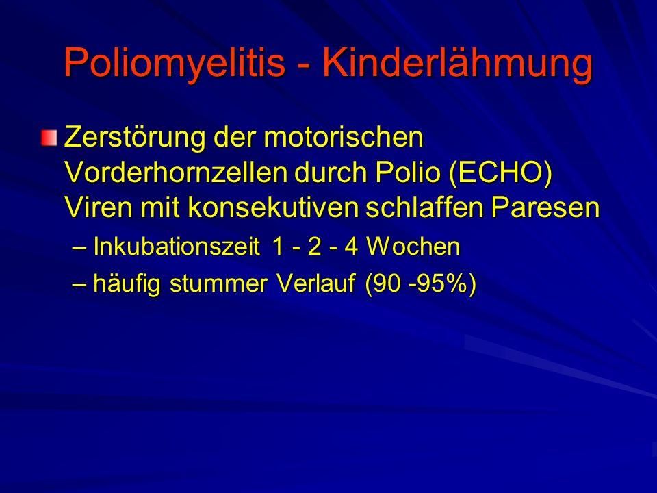 Poliomyelitis - Kinderlähmung Zerstörung der motorischen Vorderhornzellen durch Polio (ECHO) Viren mit konsekutiven schlaffen Paresen –Inkubationszeit 1 - 2 - 4 Wochen –häufig stummer Verlauf (90 -95%)