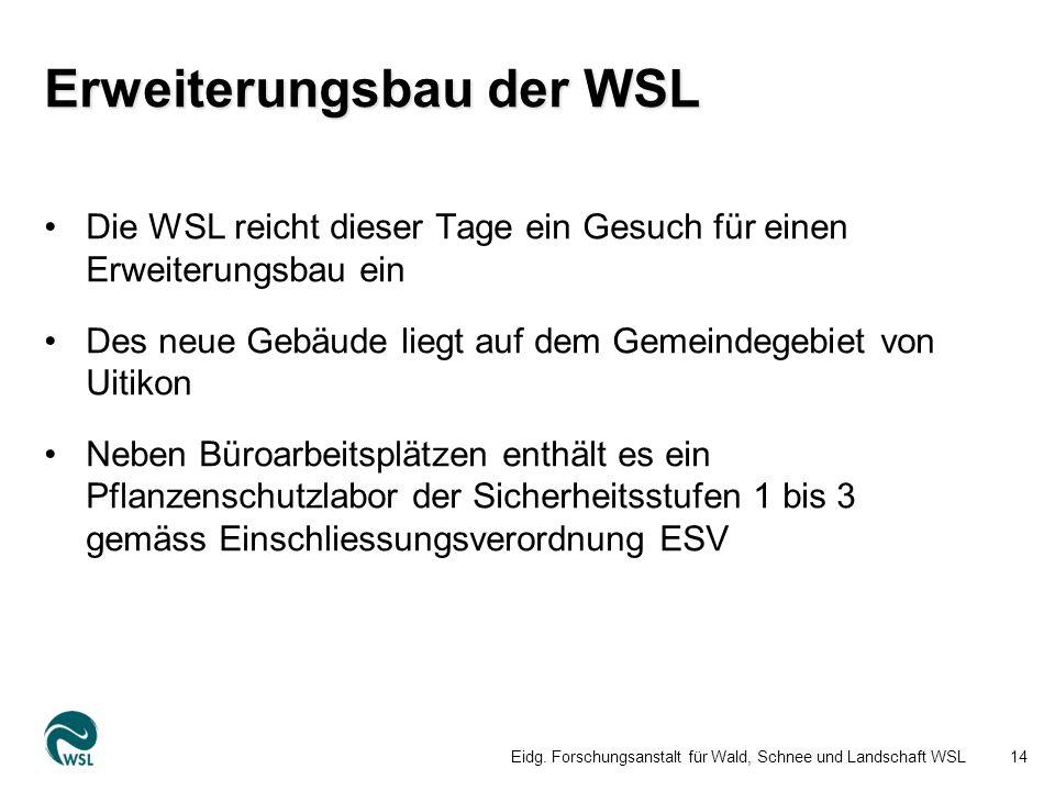 Erweiterungsbau der WSL Die WSL reicht dieser Tage ein Gesuch für einen Erweiterungsbau ein Des neue Gebäude liegt auf dem Gemeindegebiet von Uitikon Neben Büroarbeitsplätzen enthält es ein Pflanzenschutzlabor der Sicherheitsstufen 1 bis 3 gemäss Einschliessungsverordnung ESV Eidg.