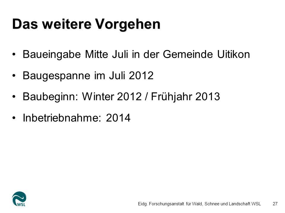 Das weitere Vorgehen Baueingabe Mitte Juli in der Gemeinde Uitikon Baugespanne im Juli 2012 Baubeginn: Winter 2012 / Frühjahr 2013 Inbetriebnahme: 2014 Eidg.