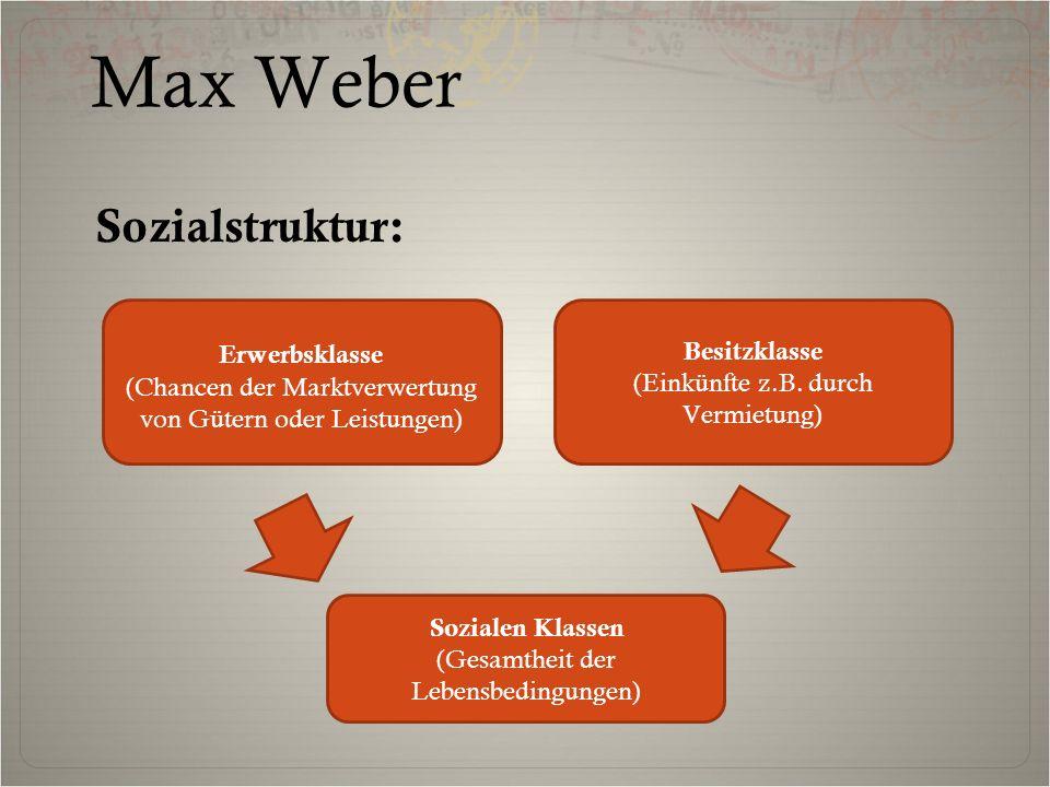 Sozialstruktur: Erwerbsklasse (Chancen der Marktverwertung von Gütern oder Leistungen) Besitzklasse (Einkünfte z.B. durch Vermietung) Sozialen Klassen