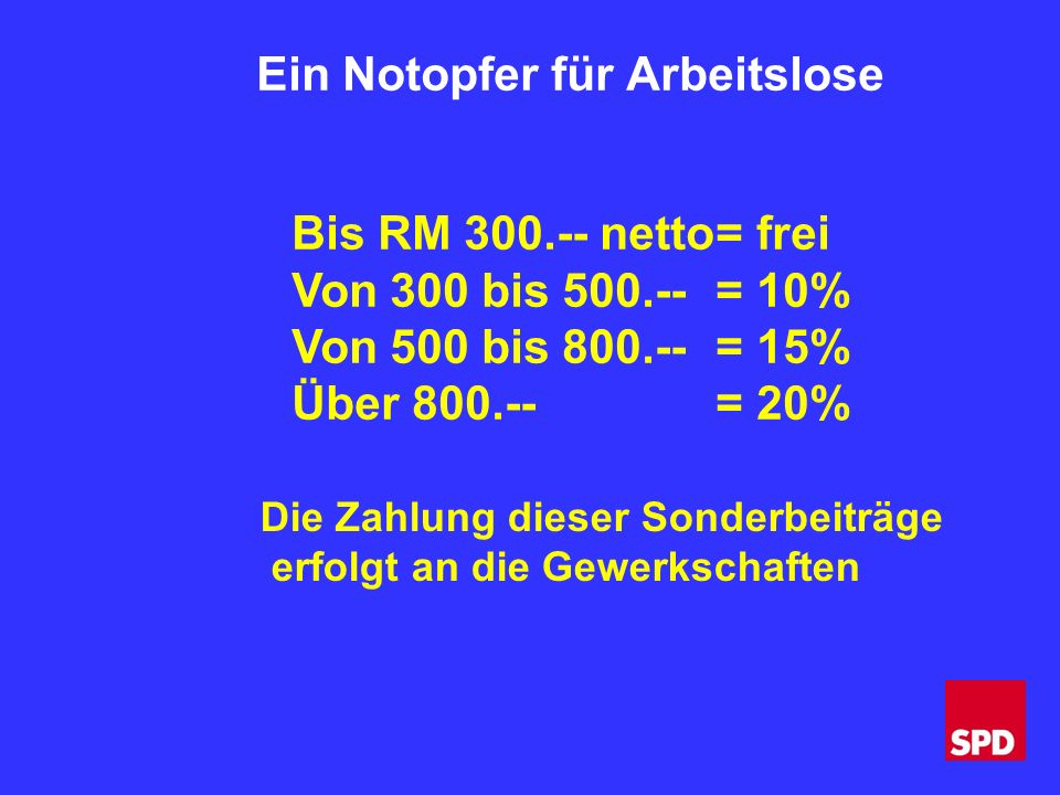 Ein Notopfer für Arbeitslose Bis RM 300.-- netto= frei Von 300 bis 500.--= 10% Von 500 bis 800.--= 15% Über 800.--= 20% Die Zahlung dieser Sonderbeiträge erfolgt an die Gewerkschaften