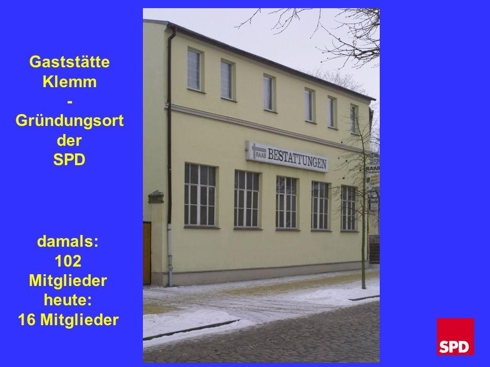 damals: 102 Mitglieder heute: 16 Mitglieder Gaststätte Klemm - Gründungsort der SPD