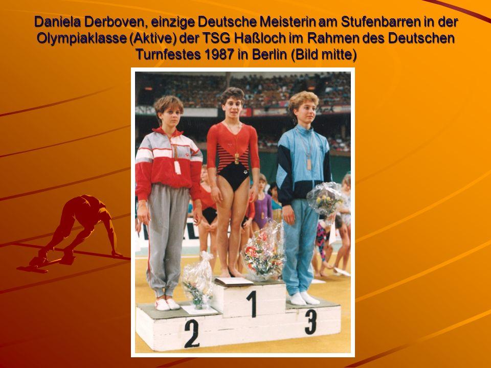 Daniela Derboven, einzige Deutsche Meisterin am Stufenbarren in der Olympiaklasse (Aktive) der TSG Haßloch im Rahmen des Deutschen Turnfestes 1987 in Berlin (Bild mitte)