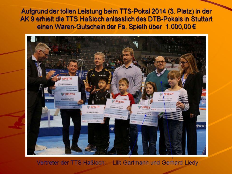 Aufgrund der tollen Leistung beim TTS-Pokal 2014 (3. Platz) in der AK 9 erhielt die TTS Haßloch anlässlich des DTB-Pokals in Stuttart einen Waren-Guts