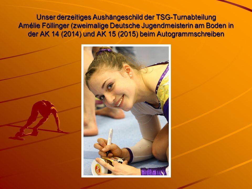 Unser derzeitiges Aushängeschild der TSG-Turnabteilung Amélie Föllinger (zweimalige Deutsche Jugendmeisterin am Boden in der AK 14 (2014) und AK 15 (2015) beim Autogrammschreiben
