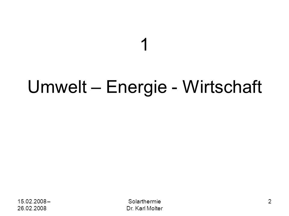 15.02.2008 – 26.02.2008 Solarthermie Dr. Karl Molter 2 1 Umwelt – Energie - Wirtschaft