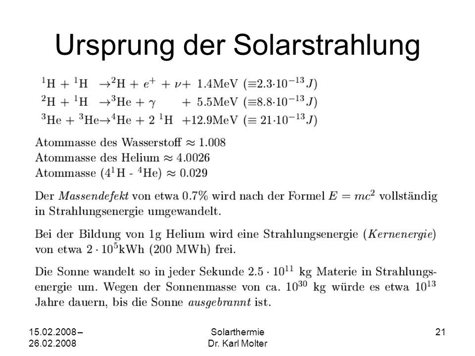 15.02.2008 – 26.02.2008 Solarthermie Dr. Karl Molter 21 Ursprung der Solarstrahlung
