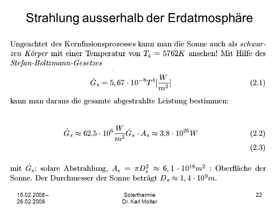 15.02.2008 – 26.02.2008 Solarthermie Dr. Karl Molter 22 Strahlung ausserhalb der Erdatmosphäre