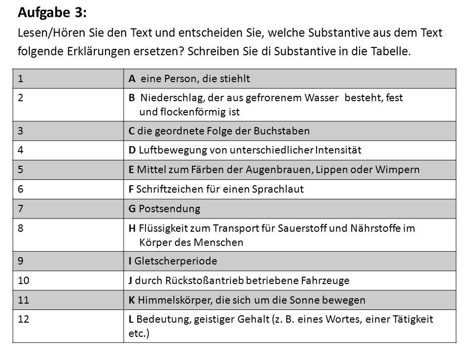 Aufgabe 3: Lesen/Hören Sie den Text und entscheiden Sie, welche Substantive aus dem Text folgende Erklärungen ersetzen.