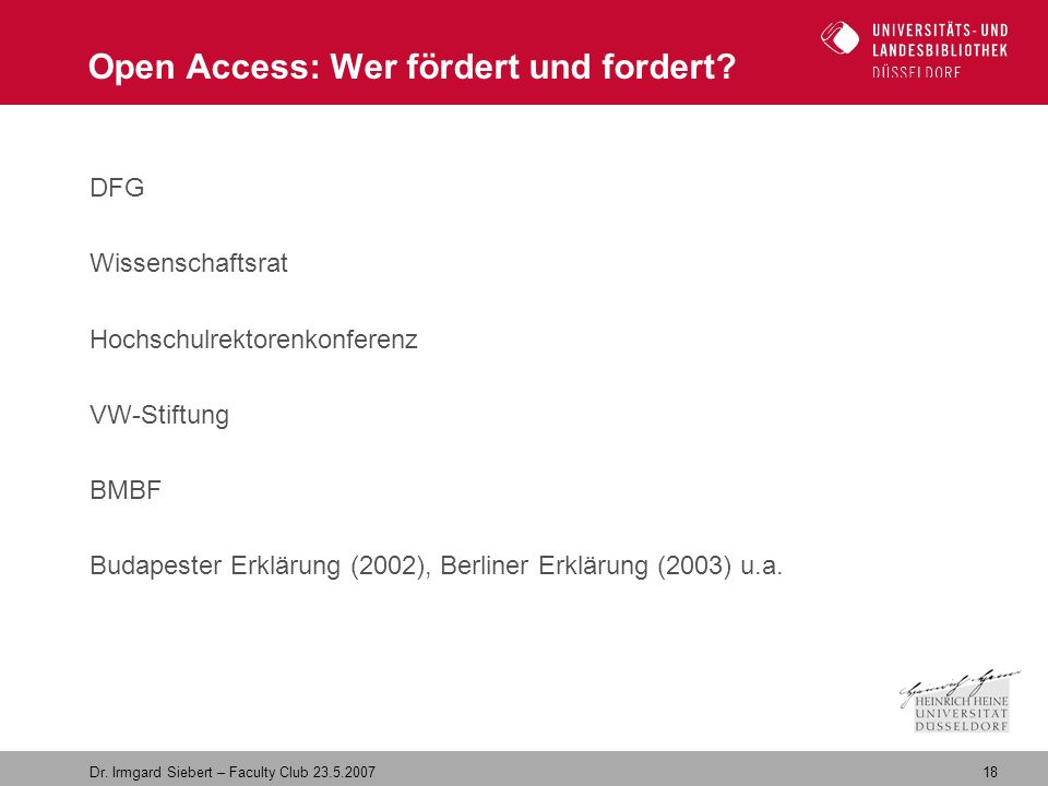 18 Dr. Irmgard Siebert – Faculty Club Open Access: Wer fördert und fordert.