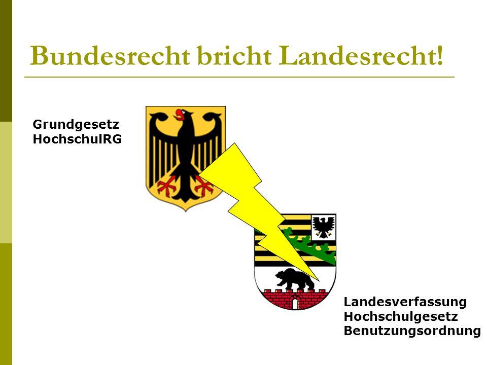Bundesrecht bricht Landesrecht.