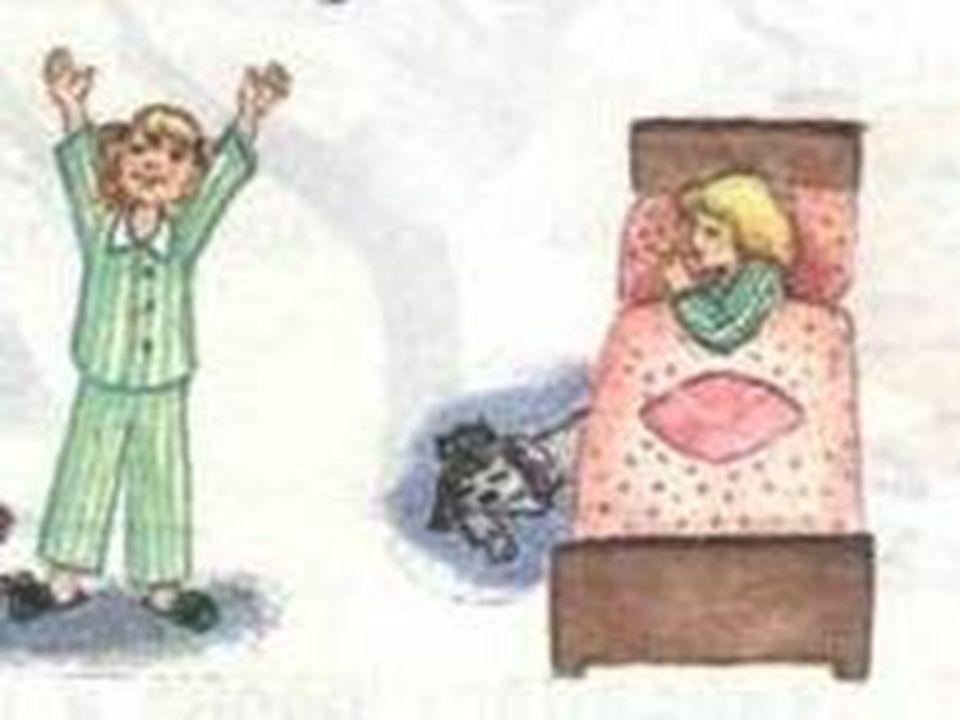 1.Der Morgen, der Vormittag, die Eile, der Nachmittag 2.gehoren, sich waschen, sich duschen, sich kammen 3.Die Zahne putzen, das Bett machen, lesen, das Zimmer luften 4.Die Sonne geht auf, stricken, nahen, schaffen