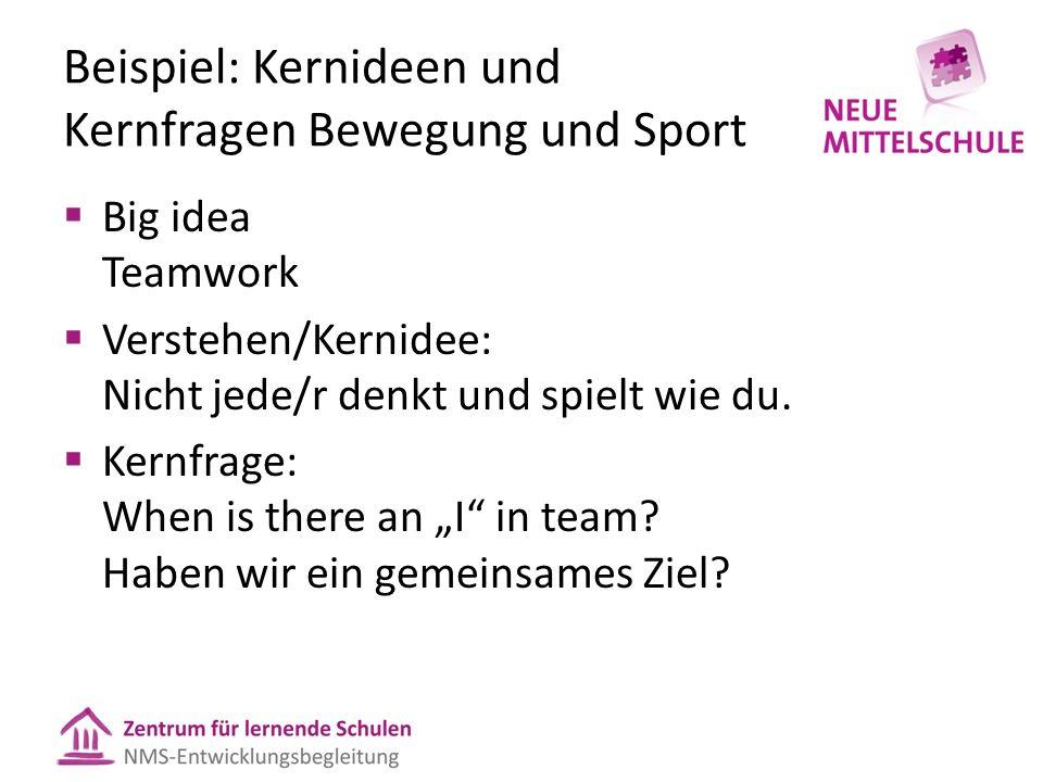 Beispiel: Kernideen und Kernfragen Bewegung und Sport  Big idea Teamwork  Verstehen/Kernidee: Nicht jede/r denkt und spielt wie du.