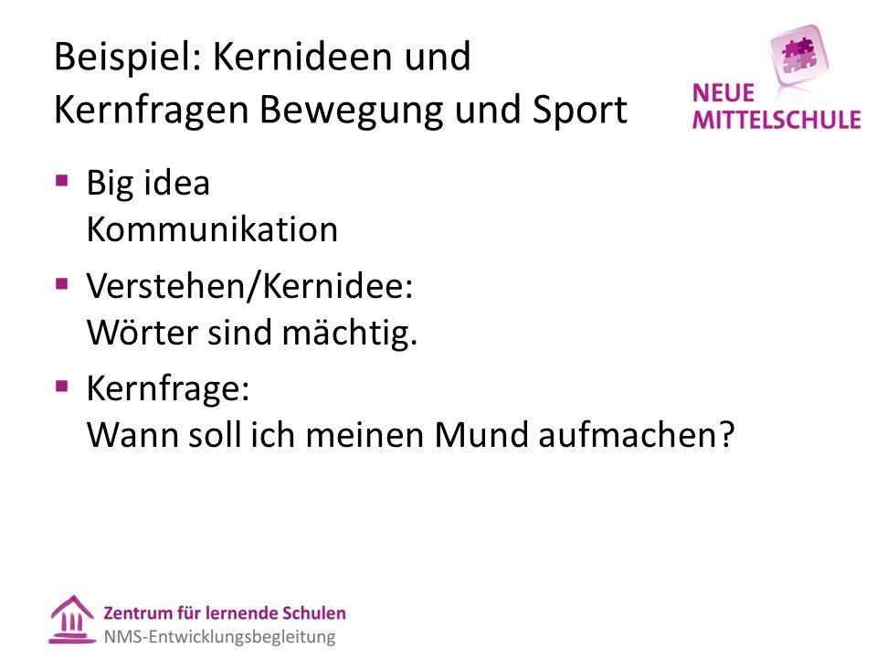 Beispiel: Kernideen und Kernfragen Bewegung und Sport  Big idea Kommunikation  Verstehen/Kernidee: Wörter sind mächtig.