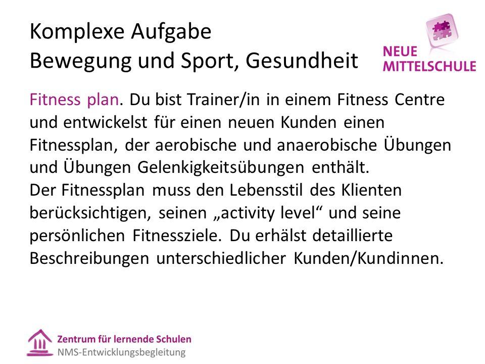 Komplexe Aufgabe Bewegung und Sport, Gesundheit Fitness plan.