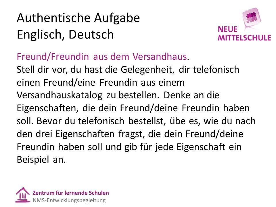 Authentische Aufgabe Englisch, Deutsch Freund/Freundin aus dem Versandhaus.