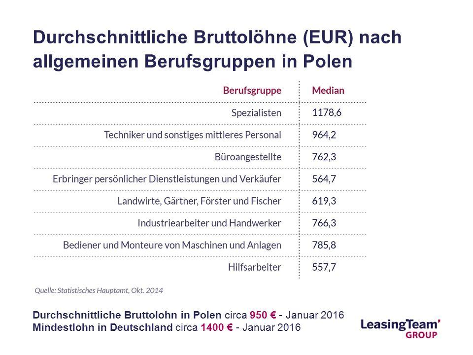 Durchschnittliche Bruttolöhne (EUR) nach allgemeinen Berufsgruppen in Polen Durchschnittliche Bruttolohn in Polen circa 950 € - Januar 2016 Mindestlohn in Deutschland circa 1400 € - Januar 2016